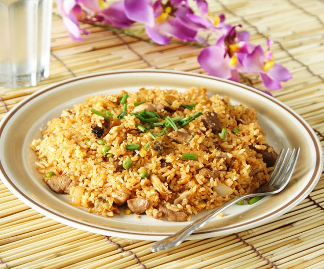 a plate of delicious oriental fried rice