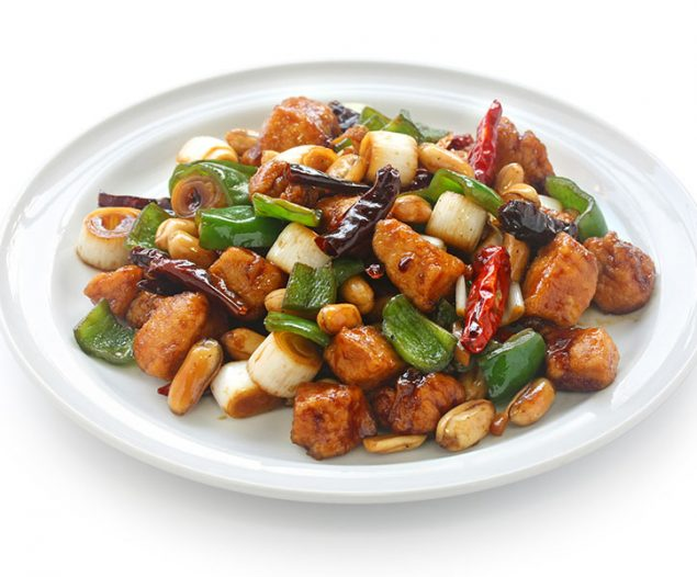 kung pao chicken, chinese food , on white  background